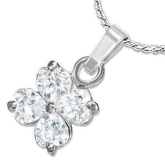 "Feshionn IOBI Necklaces Clear ""Shamrock"" Cubic Zirconia Four Leaf Clover Pendant Necklace"