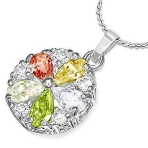 "Feshionn IOBI Necklaces Colorful ON SALE - ""Daisy"" Cubic Zirconia Flower Pendant Necklace"