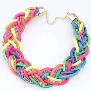 Feshionn IOBI Necklaces Colorful Vibrant Braided Mesh Choker Necklace