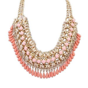 Feshionn IOBI Necklaces Coral Orange Bohemia Weave Beaded Choker Necklace