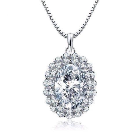 Feshionn IOBI Necklaces Countess 5CT Oval Double Halo IOBI Cultured Diamond Pendant