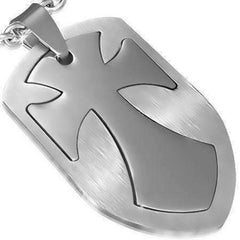 Feshionn IOBI Necklaces Cross 2 Piece Cut-Out Shield Stainless Steel Pendant Necklace