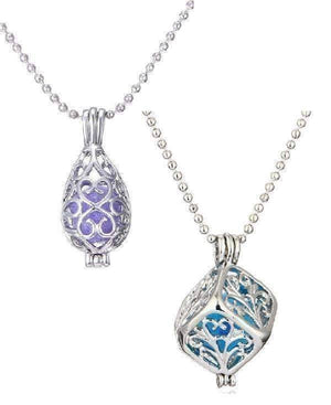 Feshionn IOBI Necklaces Cube / Platinum Plated Filigree Aromatherapy Scent Diffuser Locket Necklace