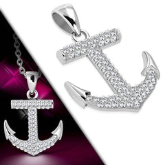 CZ Encrusted Mariner's Anchor Stainless Steel Pendant Necklace in Black or White CZ