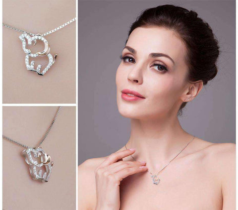 Feshionn IOBI Necklaces Dainty Elephant Cubic Zirconia Pendant Necklace