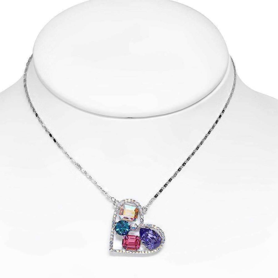 Feshionn IOBI Necklaces Multi Dazzling Shades of Pastel Multi-Stone IOBI Crystals Heart Pendant Necklace