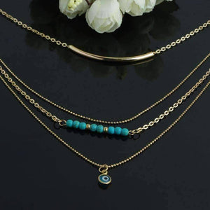 Feshionn IOBI Necklaces Delicately Layered Gold and Turquoise Necklace