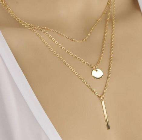 Feshionn IOBI Necklaces Delicately Layered Gold Bead Three Chain Necklace