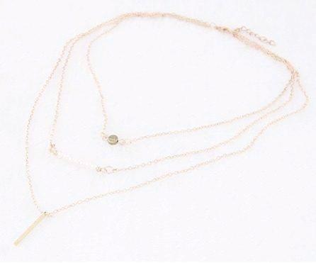 Feshionn IOBI Necklaces Gold Delicately Layered Pearl and Gold Triple Chain Necklace