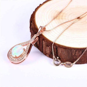Feshionn IOBI Necklaces Divine Opal and Rose Gold Drop IOBI Precious Gems Necklace