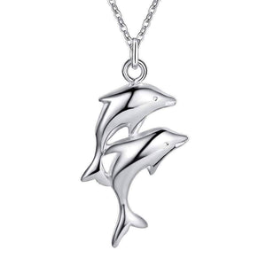 Feshionn IOBI Necklaces Double Dolphin Sterling Silver Necklace