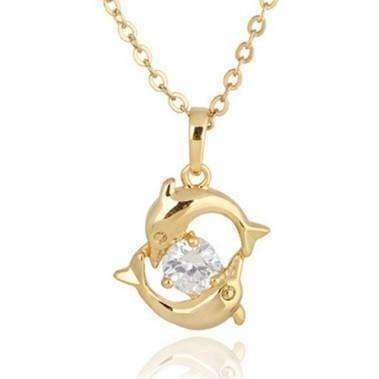 Feshionn IOBI Necklaces Double Dolphins 18k Gold Plated Necklace with CZ Accent