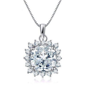 Feshionn IOBI Necklaces Duchess 6CT Cushion Cut Floral Halo IOBI Cultured Diamond Pendant