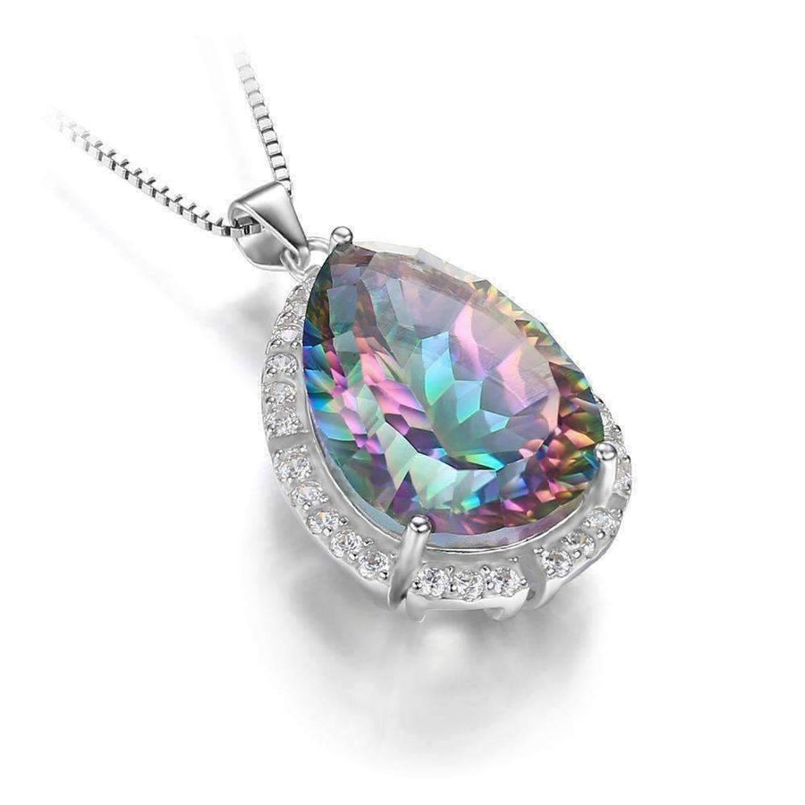 Feshionn IOBI Necklaces Eden Genuine Rainbow Fire Mystic Topaz 13CT IOBI Precious Gems Pendant