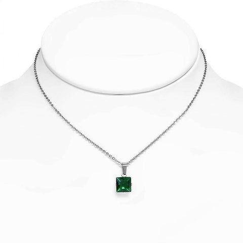 "Feshionn IOBI Necklaces Emerald ""Envy"" Emerald Green Princess Cut CZ Solitaire Pendant Necklace in Stainless Steel"