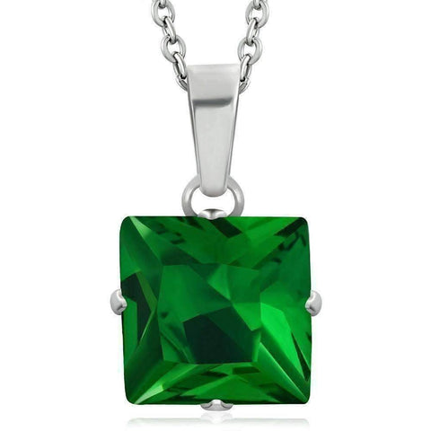 "Feshionn IOBI Necklaces ""Envy"" Emerald Green Princess Cut CZ Solitaire Pendant Necklace in Stainless Steel"