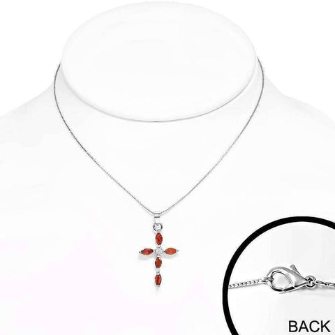 "Feshionn IOBI Necklaces ""Faith"" Small Cubic Zirconia Cross Pendant Necklace"