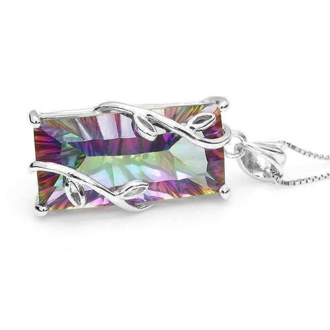 Feshionn IOBI Necklaces Fantasy Rainbow Fire Genuine Mystic 16CT Emerald Cut IOBI Precious Gems Pendant Necklace