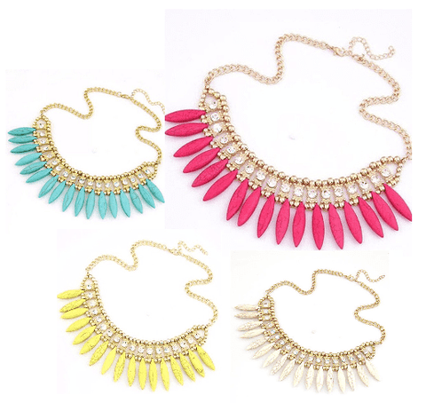 Feshionn IOBI Necklaces Flaming Pink Funky Glam Bright Boho Bead and Rhinestone Collar Necklace
