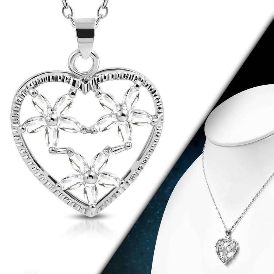 "Feshionn IOBI Necklaces White ""Floral Heart"" Large Cubic Zirconia Heart Pendant Necklace"