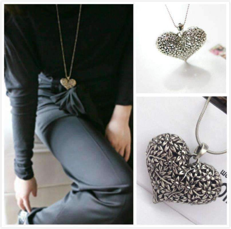 Feshionn IOBI Necklaces Silver Patina Floral Motif Hollow Puffed Heart Necklace