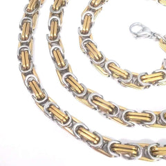 Franco Byzantine Box Link Chain Two-Tone Stainless Steel Necklace