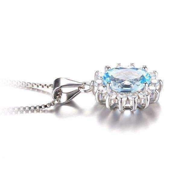 Feshionn IOBI Necklaces French Blue Pendant French Blue Halo 2.5CT Genuine Topaz IOBI Precious Gems Pendant