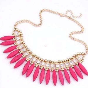Feshionn IOBI Necklaces Funky Glam Bright Boho Bead and Rhinestone Collar Necklace