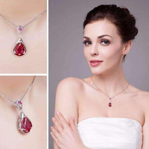 Feshionn IOBI Necklaces Gala 3.8CT Pear Drop Simulated Pigeon Blood Ruby IOBI Precious Gems Pendant