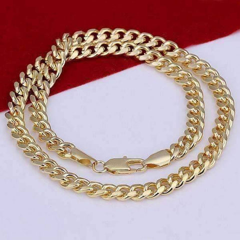 Feshionn IOBI Necklaces Gold 18k Gold Plated Men's Cuban Curb Link Chain Necklace