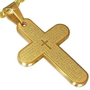 Feshionn IOBI Necklaces gold 18k Gold Plated Prayer Cross Pendant 18k Gold Plated Prayer Cross Necklace