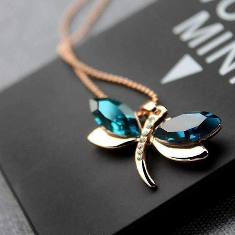 Feshionn IOBI Necklaces Gold Blue Winged Austrian Crystal Dragonfly Necklace