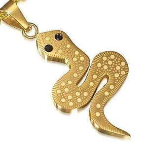 Feshionn IOBI Necklaces Gold CLEARANCE - Lucky Strike Snake Necklace Pendant 18k Gold over Stainless Steel