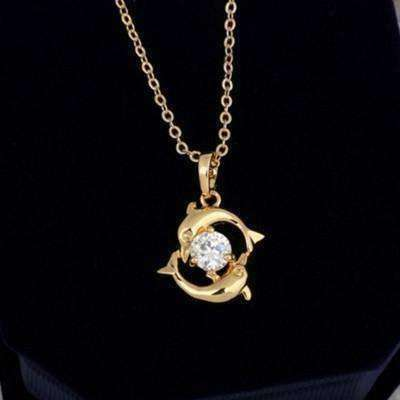 Feshionn IOBI Necklaces Gold Double Dolphins 18k Gold Plated Necklace with CZ Accent