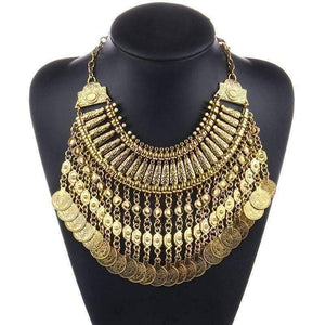 Feshionn IOBI Necklaces Gold Noble Roman Dangling Coin Collar Necklace