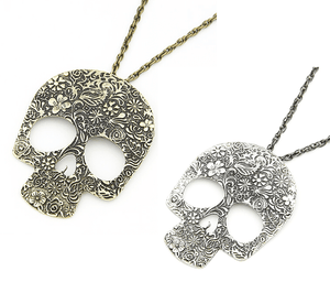 Feshionn IOBI Necklaces Gold Tone Blossoming Skull Floral Etched Necklace