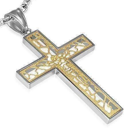 Feshionn IOBI Necklaces Golden Etched Jesus on Cross Necklace