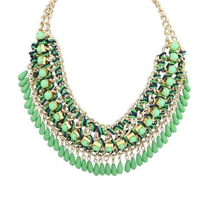 Feshionn IOBI Necklaces Green Bohemia Weave Beaded Choker Necklace