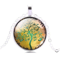 Feshionn IOBI Necklaces Green Glass Cabochon Medallion Necklace - Green Tree