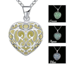 Feshionn IOBI Necklaces Green Luminous Heart Small Glow in The Dark Pendant Necklace