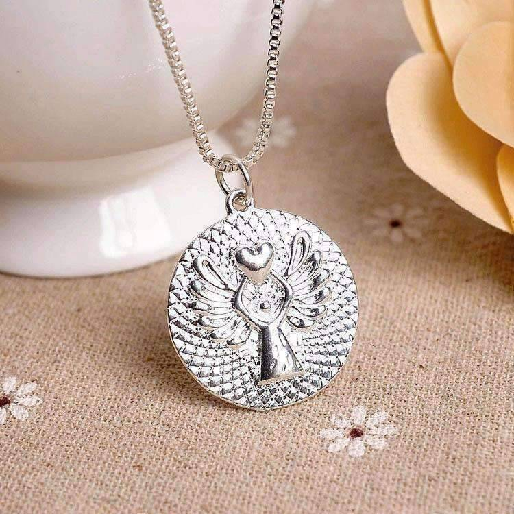 Feshionn IOBI Necklaces Silver Guardian Angel Blessing Necklace