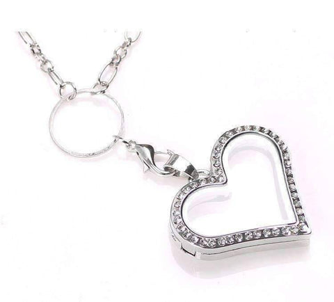 Feshionn IOBI Necklaces Heart My Favorite Things Heart Magnetic Charm Locket with Figaro Chain Necklace