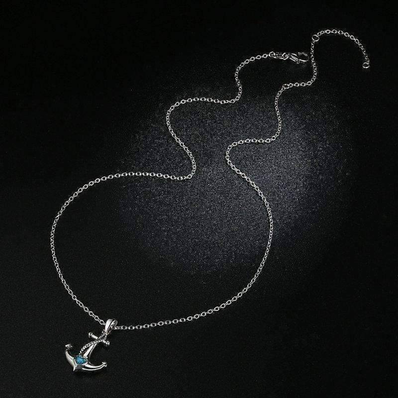 Feshionn IOBI Necklaces Silver Heart Of The Sea Sterling Silver Anchor Necklace