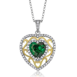 Feshionn IOBI Necklaces Heart Pendant ON SALE - Romance Green Nano Emerald Heart IOBI Precious Gems Pendant Necklace