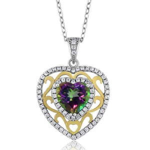 Feshionn IOBI Necklaces Heart Pendant Romance Genuine Green Mystic Topaz Heart IOBI Precious Gems Pendant Necklace