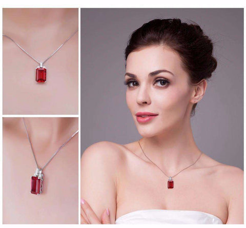 Feshionn IOBI Necklaces Heirloom 9CT Emerald Cut Simulated Pigeon Blood Ruby IOBI Precious Gems Pendant