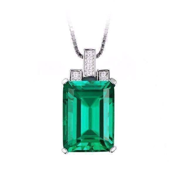 Feshionn IOBI Necklaces Emerald Pendant Heritage 9CT Emerald Cut Simulated Russian Emerald IOBI Precious Gems Pendant