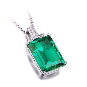 Feshionn IOBI Necklaces Heritage 9CT Emerald Cut Simulated Russian Emerald IOBI Precious Gems Pendant