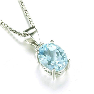 Feshionn IOBI Necklaces Ice Blue Genuine Topaz Oval Cut 2CT IOBI Precious Gems Pendant Necklace