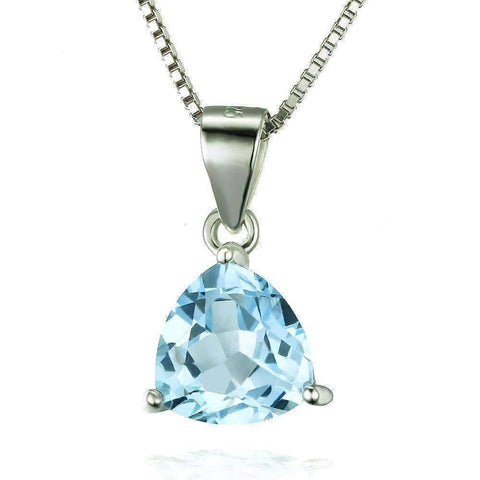 Feshionn IOBI Necklaces Ice Blue Genuine Topaz Trillion Cut 2.2CT IOBI Precious Gems Pendant Necklace